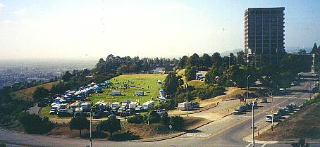 CSU Hayward field and admin. building overlooking East Bay