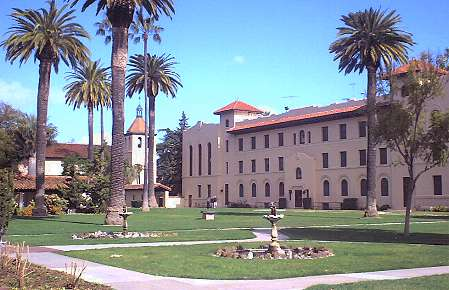 Alumni bldg and Mission Santa Clara at Santa Clara U.