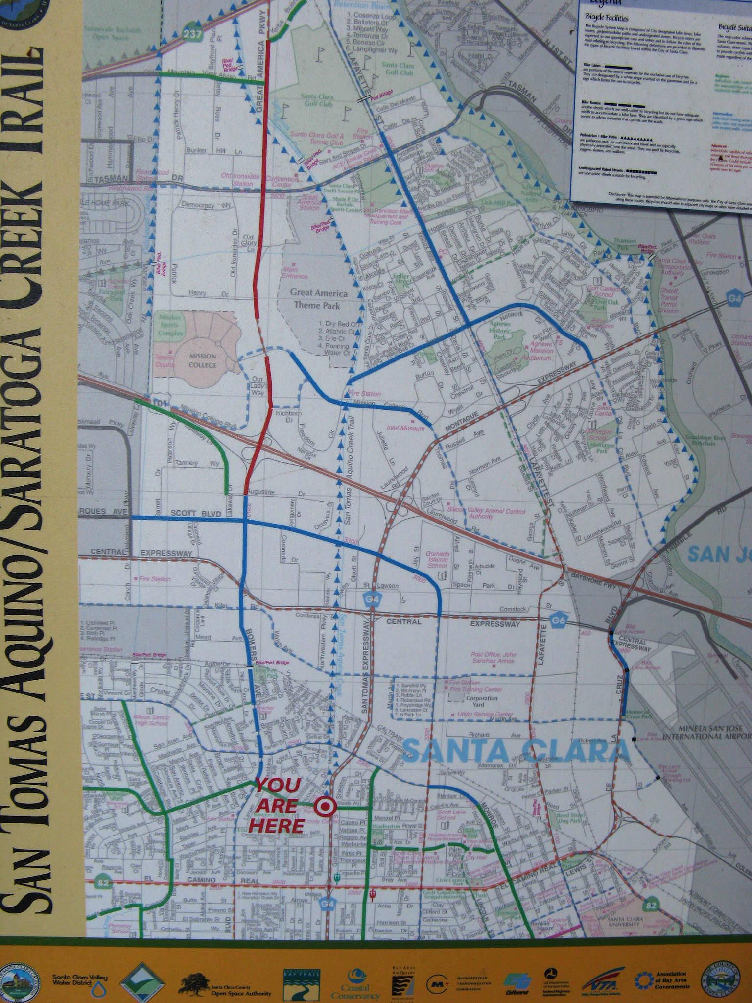 The San Tomas AquinoSaratoga Creek Trail Santa Clara California - San jose bike trails map